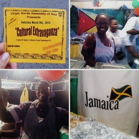 People in festival garb celebrating a Caribbean food festival