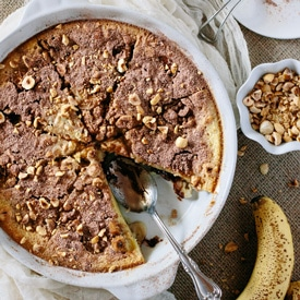 Nutella and Banana Clafoutis with Roasted Hazelnuts