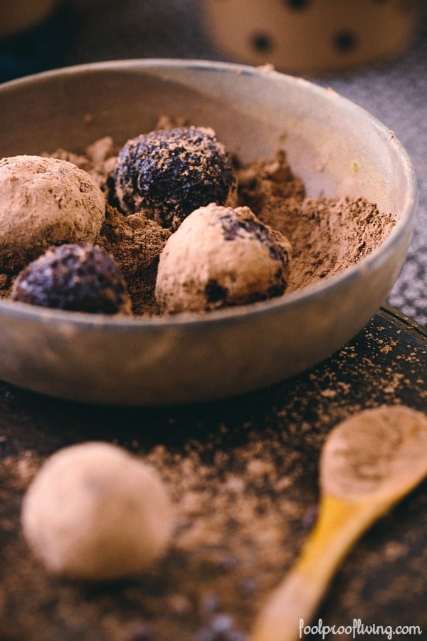 Four Vegan Cocoa Truffles in a bowl with vegan cocoa powder