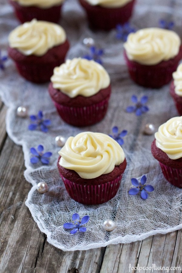 Best Red Velvet Cupcake Recipe by Ina Garten from the front view