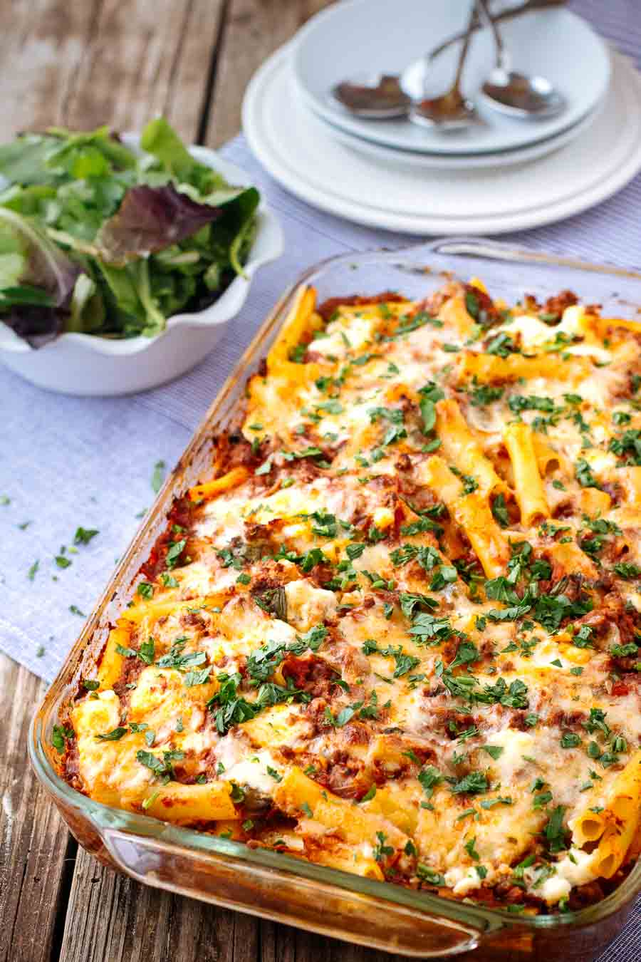 Baked Ziti with Meat Sauce photographed from the front view.
