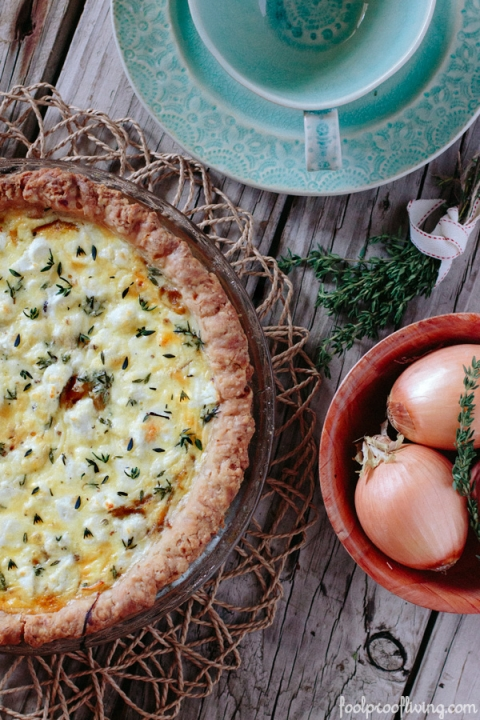 Goat Cheese Quiche with Caramelized Onions and Thyme