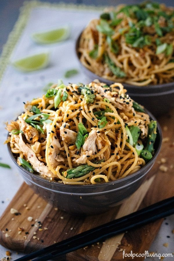 A bowl of Sesame Noodles with Chicken and Asparagus