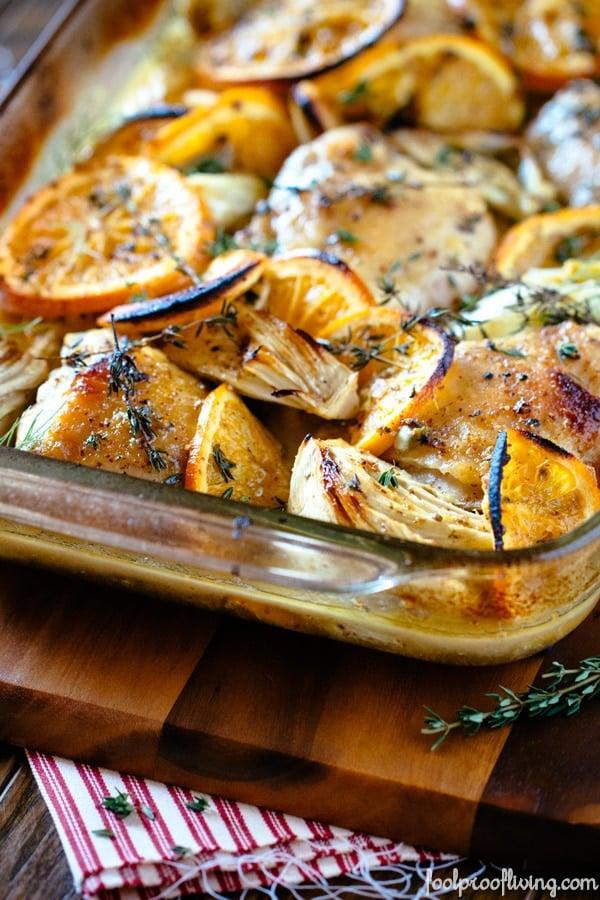 Oven-Roasted Orange Chicken with Fennel