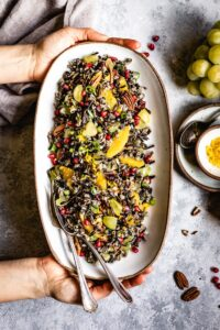 Wild Rice Salad Recipe placed on a plate served by a person