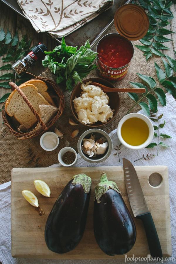 Ingredients to make eggplant involtini