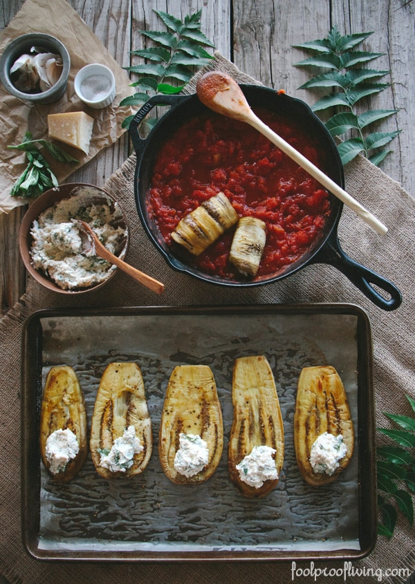 Showing how to make eggplant involtini with tomato sauce and ricotta cheese