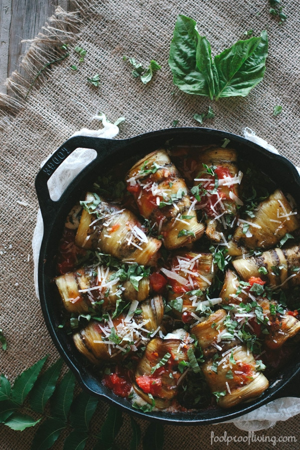 Eggplant Involtini in a cast iron skillet right after it is baked.