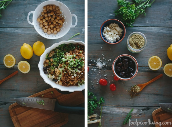 Two scenes of ingredients for Za'atar Salad
