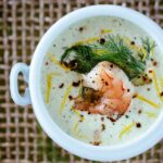Chilled Cucumber and Avocado Soup with Roasted Shrimp