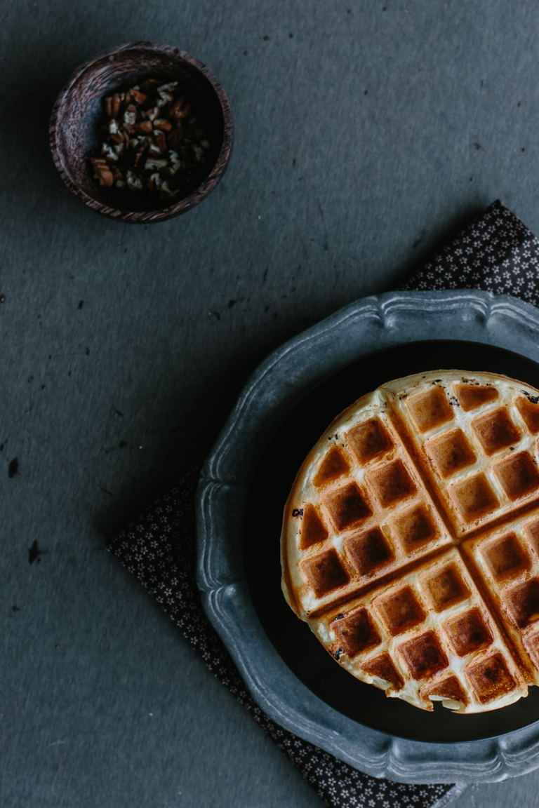 Overnight Yeasted Waffles with Banana-Rum Topping