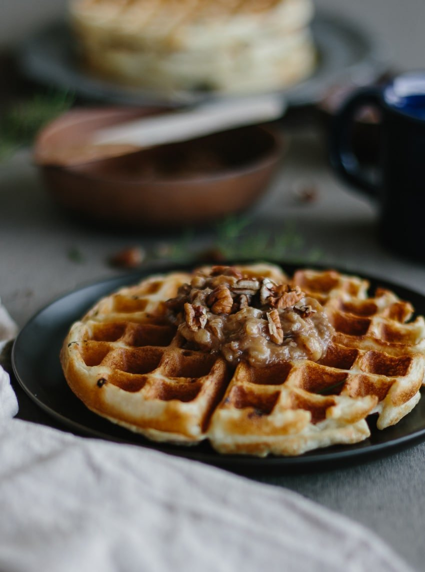 Close view of Overnight Yeasted Waffles with Banana-Rum Topping