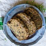 Slices of classic zucchini bread on a plate