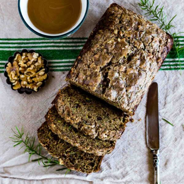 Easy Zucchini Bread sliced and served with coffee and walnuts