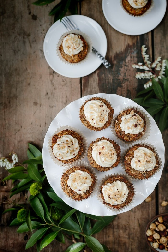 Gluten-free, maple and banana sweetened carrot coconut cupcakes