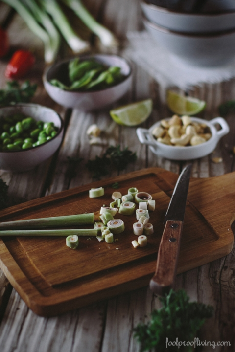 Lemongrass Chicken with Cashews and Edamame