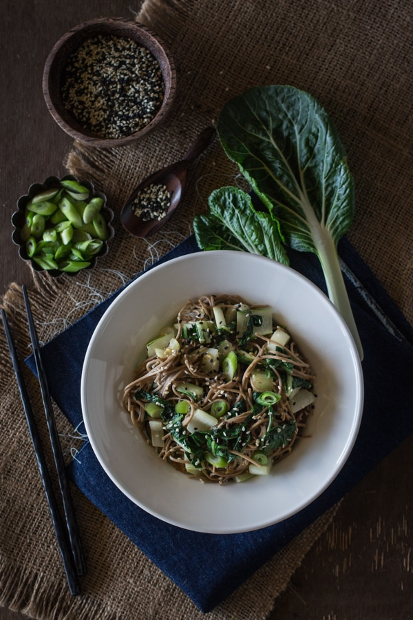 Soba Noodles with Bok Choy and Garlicky Miso-Tahini Sauce in a bowl