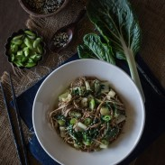 Soba Noodles with Bok Choy and Garlicky Miso Tahini Dressing
