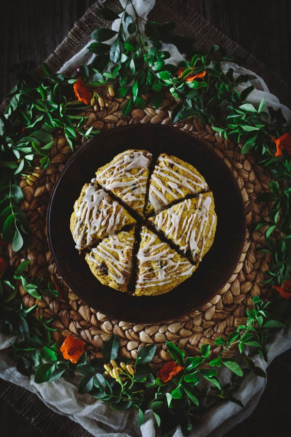 Pumpkin Fig and Pecan Scones with Brown Butter Glaze