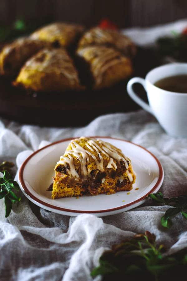 Pumpkin Fig Pecan Scones with Brown Butter Glaze