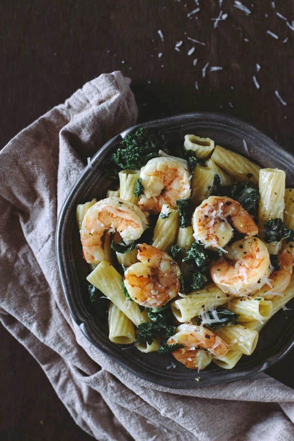 Roasted Shrimp and Kale Rigatoni with Lemon Ricotta Sauce