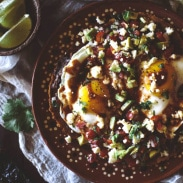 Huevos Rancheros with Posada Corazon's Pasilla Chile Sauce
