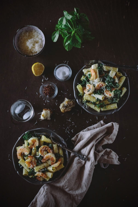 Roasted Shrimp and Kale Rigatoni with Lemon Ricotta Sauce