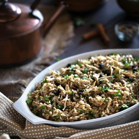 Ottoman-Style Chicken Pilaf with Pine Nuts, Currants, and ...