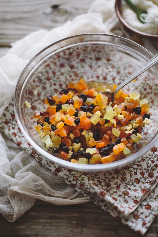 Bowl of mixed dried fruit and raisins