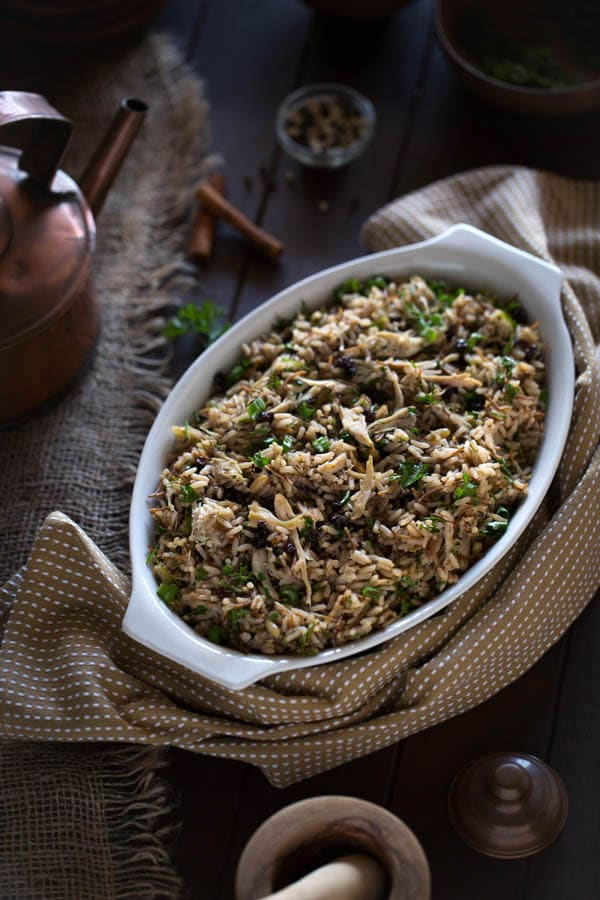 Ottoman-Style Chicken Pilaf with Pine Nuts, Currants, and Herbs