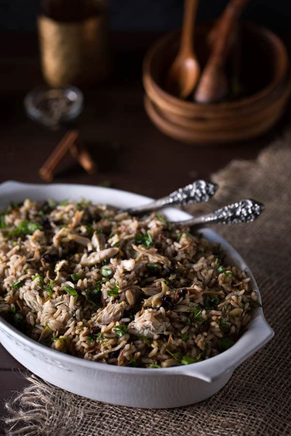 Ottoman-Style Chicken Pilaf with Pine Nuts, Currants and Herbs