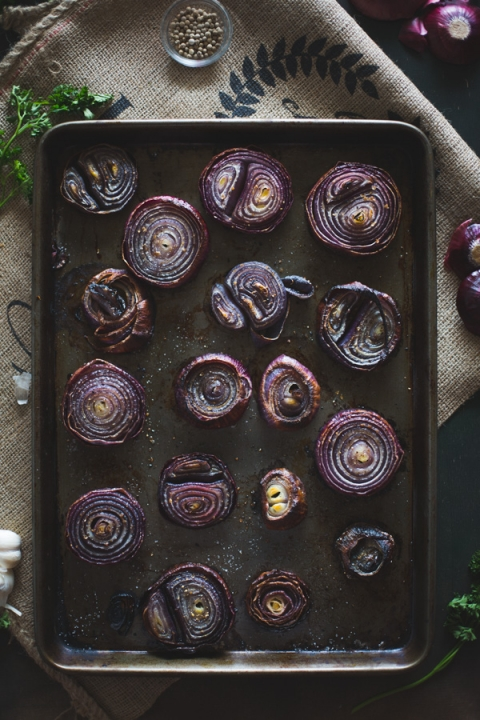 Roasted Red Onions with Walnut Salsa