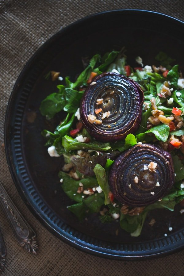 Overhead view of Roasted Red Onions with Walnut Salsa
