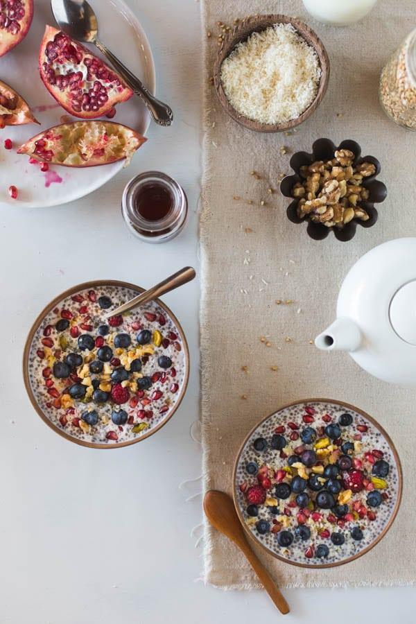 Ingredients for buckwheat recipes breakfast with a few bowls of buckwheat porridge