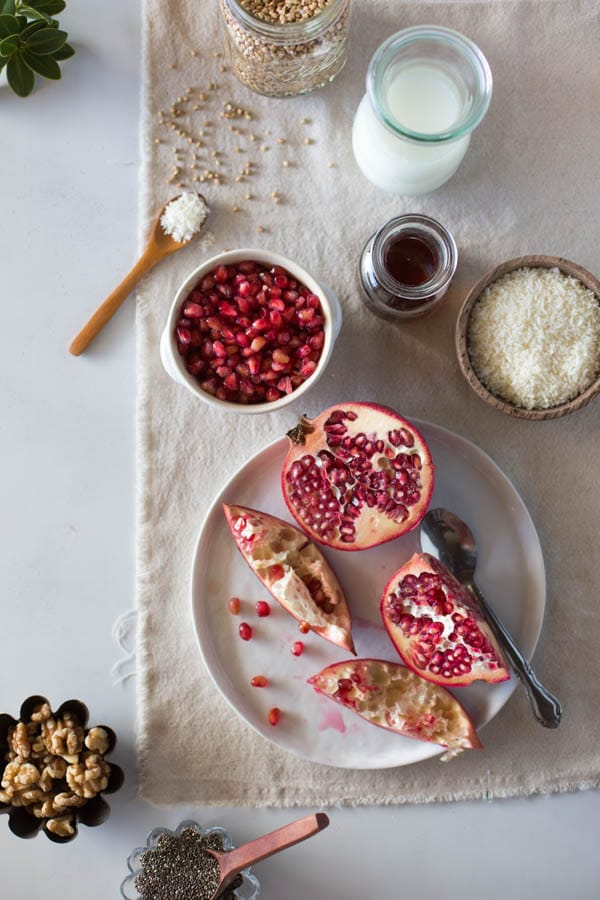 ingredients for overnight buckwheat porridge with fruit - Learn how to make buckwheat porridge