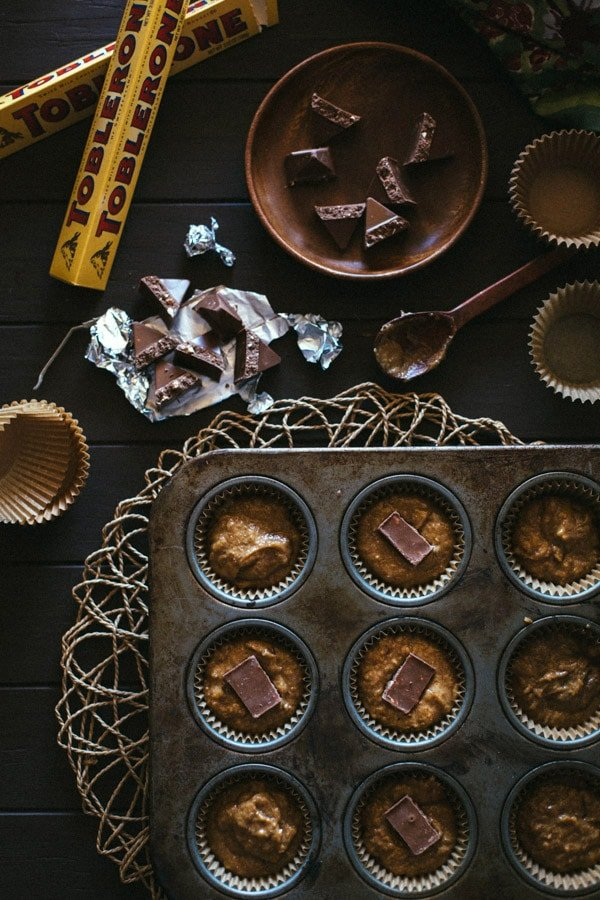 Toblerone on the side for Banana Muffins in a muffin pan