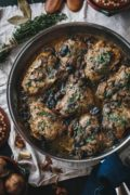 Braised Chicken Thighs with Mushrooms and Almond Purée