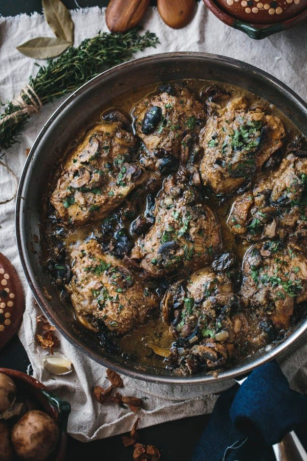 Pan on Braised Chicken Thighs with Mushrooms and Almond Purée