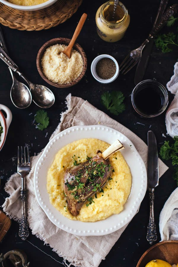 Braised Lamb Shanks with Mustard and Gremolata