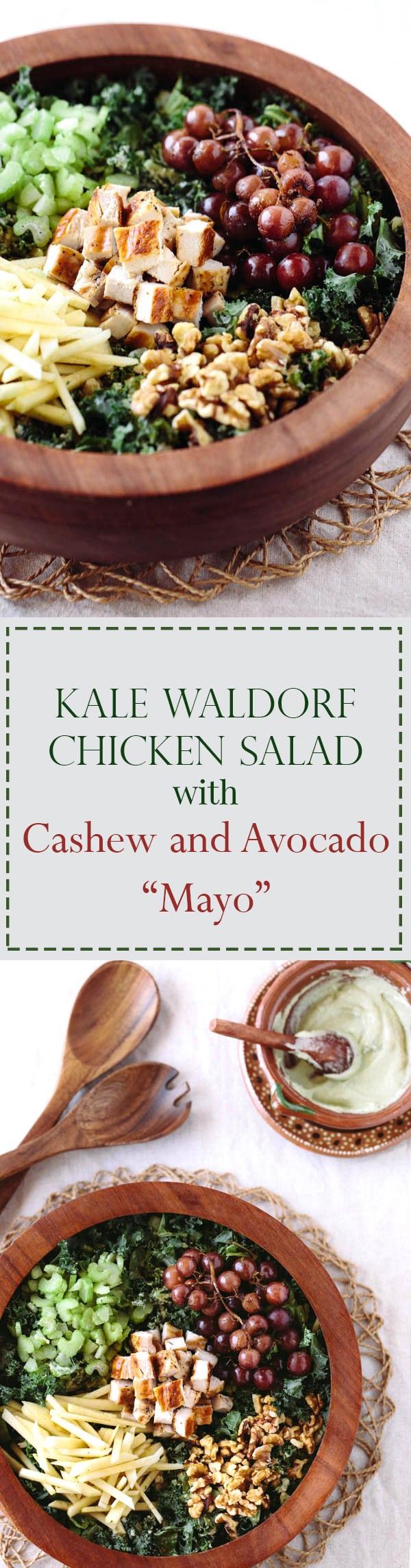 "Kale Waldorf Chicken Salad with Cashew & Avocado ""Mayo"""
