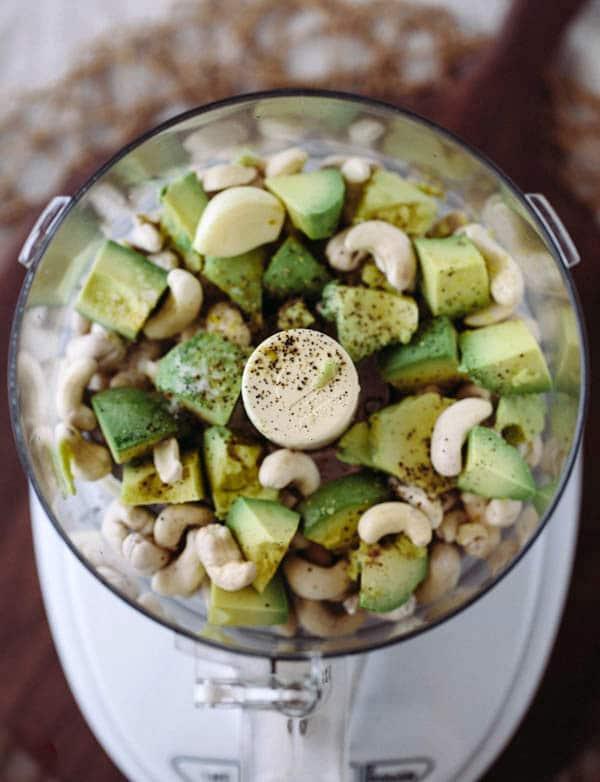 "Kale Waldorf Chicken Salad with Cashew and Avocado ""Mayo"""