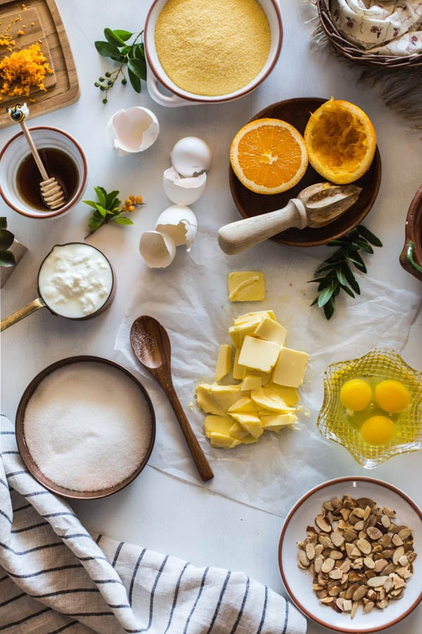 Overhead view of Ingredients for recipe for polenta cake