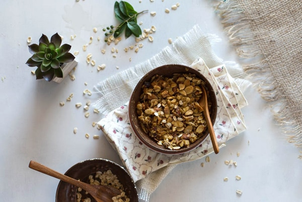 Bowl of Almond and Oat in a bowl on a napkin