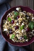 Sorghum Pilaf with Lentils, Feta and Grapes: A GF and vegetarian sorghum pilaf bowl flavored with lentils, feta, and grapes.