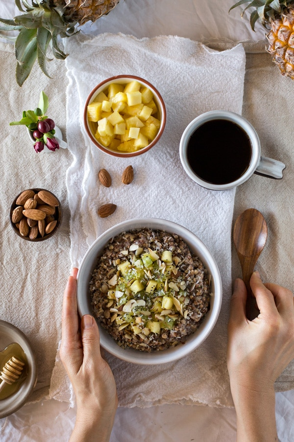 Almond-Kasha Porridge with Ginger and Pineapple