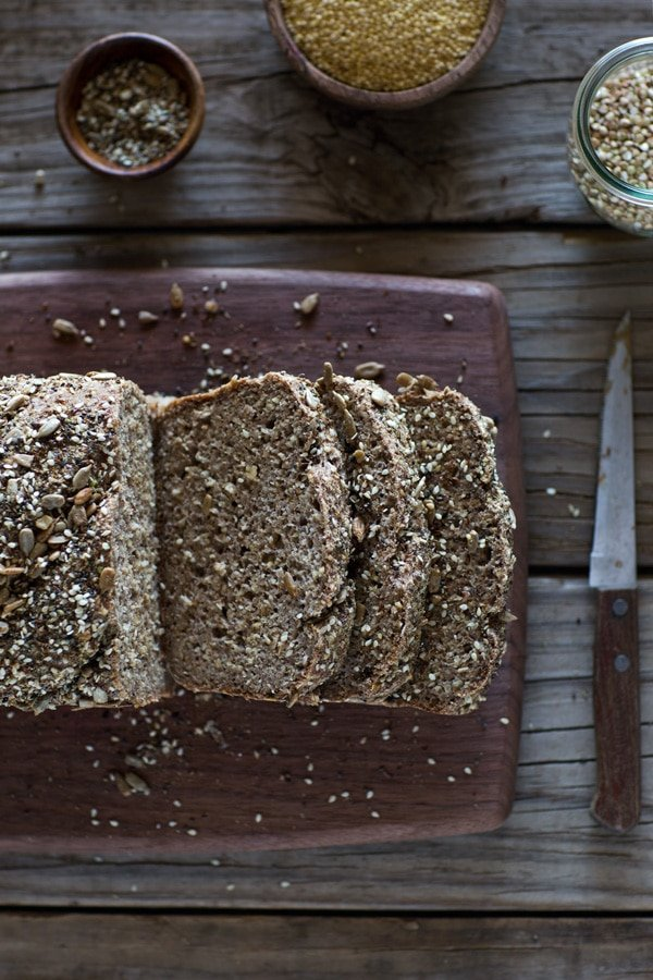 Sliced Millet and Buckwheat Bread from the top view