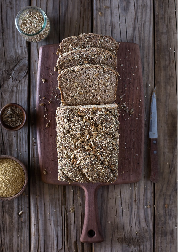 Millet and Buckwheat Bread sliced from the top view