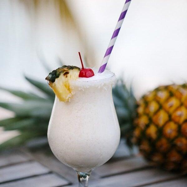 Virgin Gorda Style Pina Colada in a glass