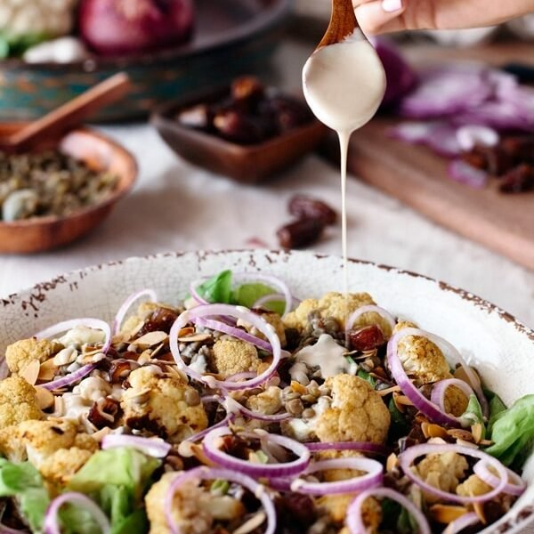 Roasted Cauliflower Salad with Lentils, Dates, and Tahini Sauce