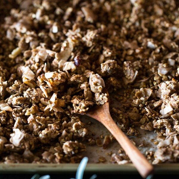 Chunky Banana Bread Granola with Chocolate Almond Milk